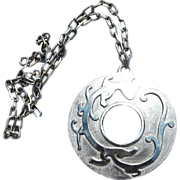 Trifari-Huge Serpent or Dragon Pendant Vintage Necklace