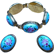Whiting and Davis- Signed  Vintage Guilloche Bracelet and Earrings