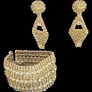 Schreiner Magnificent Vintage Huge Runway Bracelet and Earrings