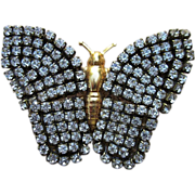 Adorable Large and Stunning Vintage Rhinestone Butterfly Brooch