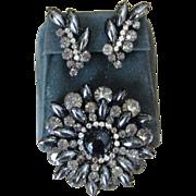 Huge Juliana Hematite Rhinestone Brooch and Earrings