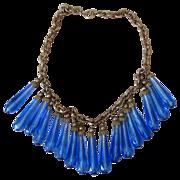 Amazing Blue Glass Festoon Dangle Vintage Necklace