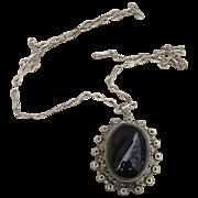 Sterling Silver Huge Locket Pendant and Chain Older Vintage