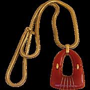 Trifari Large Mod Lucite or Resin 1970's Pendant Necklace