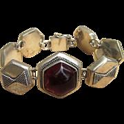 Amber and Sterling Unique Vintage Bracelet