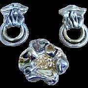 65 Grams  Huge Signed Sterling Silver Runway Vintage  Brooch and Earrings