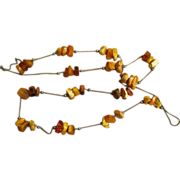 2 Baltic Amber Station Chunky Vintage Necklaces
