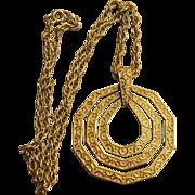 Crown Trifari Large  Vintage Pendant Unique Necklace