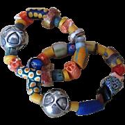 African Trade Bead and Sterling Vintage Bracelets