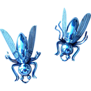 2 Large Sterling Mexico Vintage Flies Brooches or Pendants