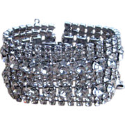 Huge and Wide Clear Rhinestone Chunky Vintage Runway Bracelet