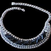 Stunning Vintage Black and Clear Vintage Rhinestone Necklace
