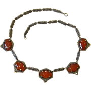 Deco Sterling And Carnelian Marcasite Vintage Necklaces