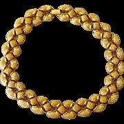 St. John Haute Couture Signed Vintage Gold Plated Elegant Designer Necklace