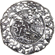 CINI Rare 3 Inch Round , 52 Grams, Ornate Courting Couple Sterling Signed Brooch or Pendant