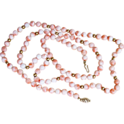 Angel Skin Coral 14K 30 Inches Long Vintage Beaded Necklace