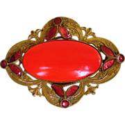 Czech Glass and Enamel Vintage Brooch with Great Color