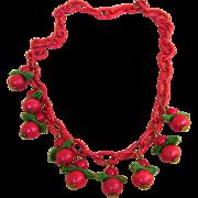 Celluloid Fabulous Vintage Cherry Necklace