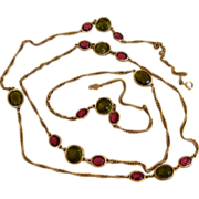 Accessocraft 60 inch Vintage Sautoir Runway Necklace with Large Pink and Green Stations