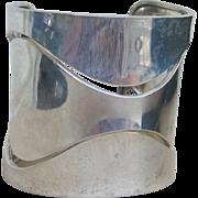 Huge 2 1/4 inch Wide Sterling Silver Vintage Moderne Cuff -70 grams