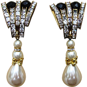 Runway 1980's Big and Bold Rhinestone and Faux Pearl Drop Earrings