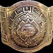 Maciel Signed Older Vintage Mexican Large Cuff Bracelet