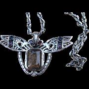 Rare Golden Rutilated Quartz and Sterling Huge Figural Pendant Vintage  Necklace on Unique Ste