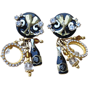 Lunch at the Ritz Signed Champagne Theme Vintage Earrings