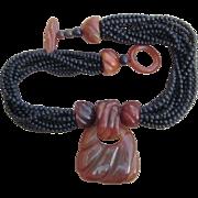 Gerda Lynggaard Monies Unsigned Vintage Horn and Beaded Vintage Necklace
