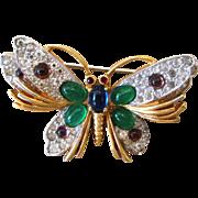 Jomaz Signed Mogul Butterfly Vintage Brooch
