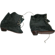 Gray Leather Boots for Bisque Dolls