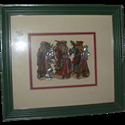Vintage Framed Christmas Die cuts( 3 Santas)