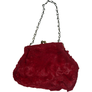 Cute adorable Mohair red purse for Dolls