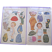 Dolly Dingle and Cousin Robin Paper Doll Sheets by G. Drayton