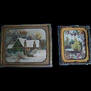 Two Miniature Prints in Detailed Ormolu Frames