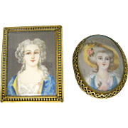 Miniature Antique Signed Portraits for Dollhouse or Brooch
