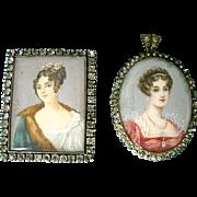 Antique Miniature European Portraits for Dollhouse or Brooch
