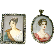 Antique Miniature European Portraits for Dollhouse or Brooch