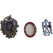 Three Antique Miniature Picture Frames for a French Fashion or Dollhouse