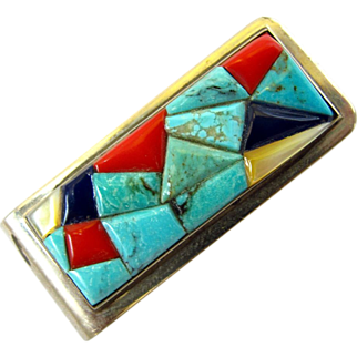 Southwestern Money Clip in Turquoise / Coral Mosaic