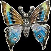 Alice Caviness Sterling Marcasite Enamel Butterfly Pin