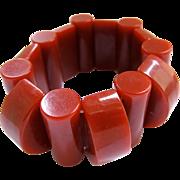 Bakelite Geometric Brick Red Stretch Bracelet