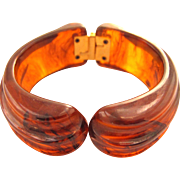 Carved Bakelite Tortoise Clamper Bracelet