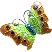 Vintage Sterling Silver Colored Butterfly Pin