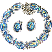 Vintage BSK Carved Iridescent Blue Melon Glass Necklace and Earrings