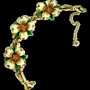 Coro Enamel Dogwood Flower Bracelet - Great Condition