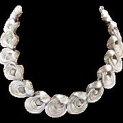 Coro Silver Tone Swirls Choker Necklace