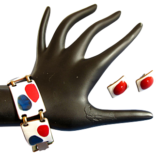 SALE Kay Denning Patriotic Enamel Fused Glass on Copper Bracelet and Earring Set