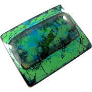 Kay Denning Green Enamel Fused Glass Brooch