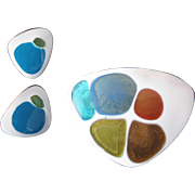 Kay Denning Enamel and Fused Glass on Copper Brooch and Earring Set